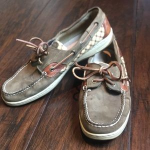 Sperry Angelfish Olive Plaid Top Sider